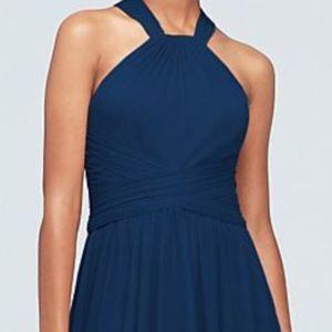 Navy Blue Halter Chiffon Dress